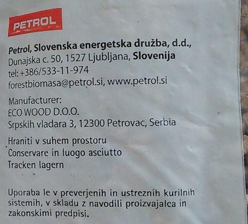 Anche se distribuito dalla Slovenia, è un pellet serbo